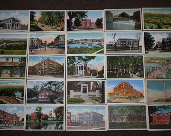Lot of 26 Vintage 1920's-1930's Elmira, NY Picture Postcards; Never Used, NOS, Old Store Stock, Rubin Bros. Publisher; Old New York Souvenir