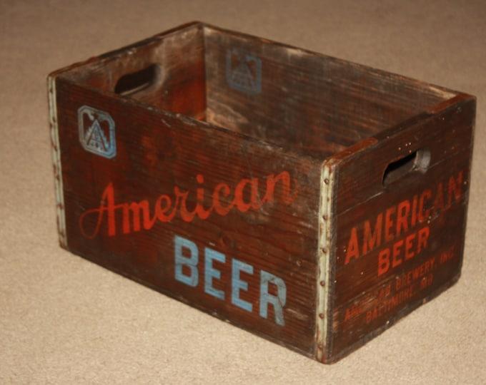 Vintage Wooden AMERICAN BEER Bottle Carrier Crate, American Brewing, Baltimore, Maryland