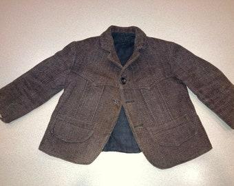 Very Cute Vintage Handmade Baby Boy Toddler Wool Coat