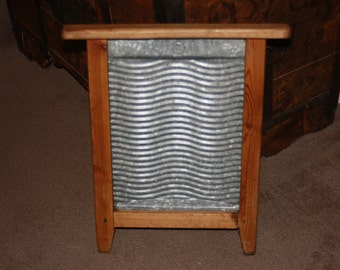Antique Country Wooden & Galvanized Steel Washboard