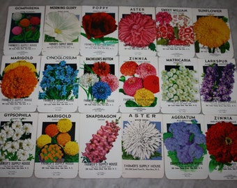 Group of 18 Vintage Unused Flower Seed Packs; Farmer's Supply House, New Bern, NC; Old Stock! Never Used!