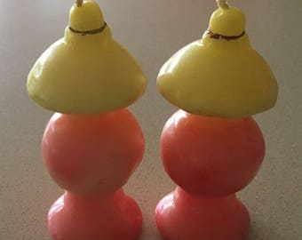 Vintage 1940s Gurley Figural Candles: Pair of Lamps