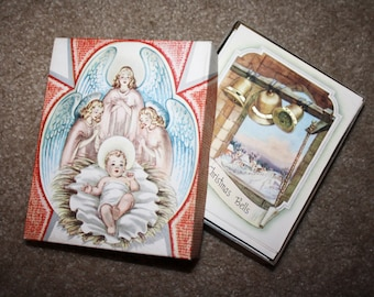 Vintage Unused Box of 1950's Christmas Cards! New Old Unsold Store Stock! Warehouse Find! 20 Holiday Cards with Envelopes, unsigned!