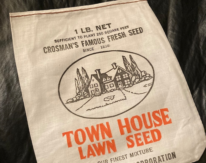 NOS Vintage Cotton Grass Seed Sack; Town House Lawn Seed Linen Bag; Crosman Seed Co., East Rochester, NY