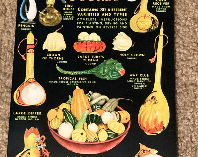 NOS Vintage Crosman Seed Corp. Large Gourds Seed Packet; Old Stock, Warehouse Find!