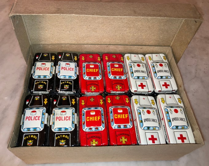 NOS Box of 60 Vintage 1960s Tin Toy Cars, Made in Japan, Old Store Stock, Tin Litho Never Used