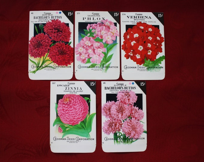 Lot of 5 Vintage Unused Lithographed Flower Seed Packs; Crosman Seed Co., East Rochester, NY