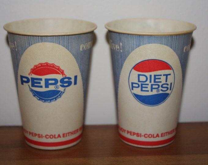 1960s Pepsi, Diet Pepsi Vending Paper Cups; Original Vintage Advertising