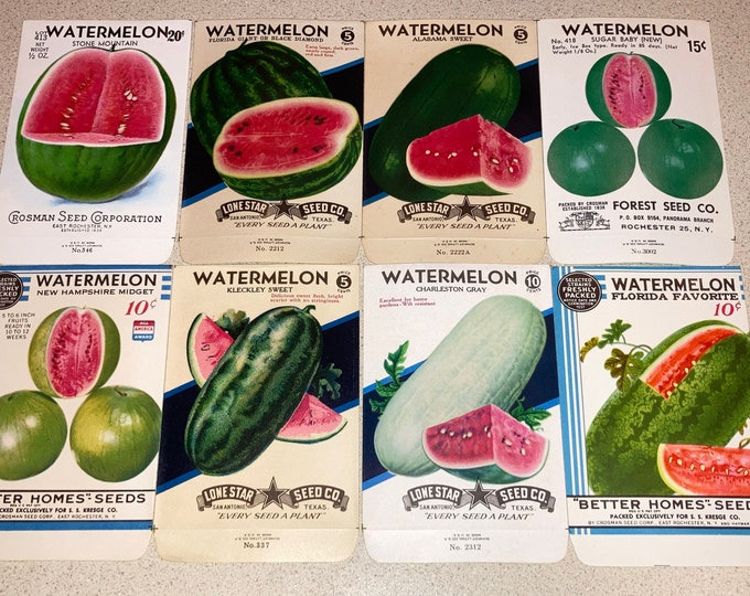 Set of 8 Vintage Watermelon Seed Packets; New Old Stock, Never Used, Authentic Old Packs