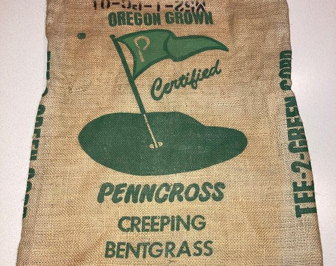 Vintage Golf Course Grass Seed Burlap Sack