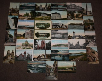 Collection of 35 Antique Postcards of Quebec, Canada; Vintage Post Cards Lot