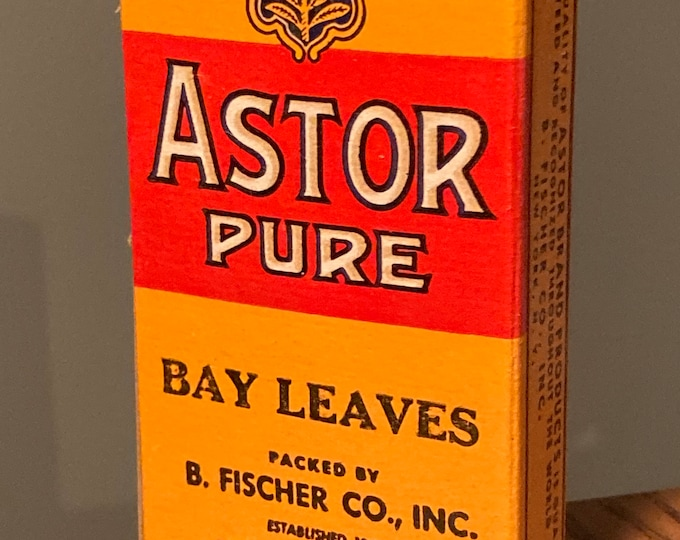 Vintage WWII Era: Astor Brand Pure Bay Leaves, Full Box, Old Stock, Country Store, Warehouse Find Spices