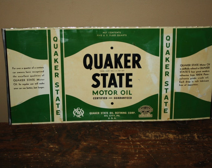 Vintage 1950s Quaker State Motor Oil Unrolled Tin Can Sign