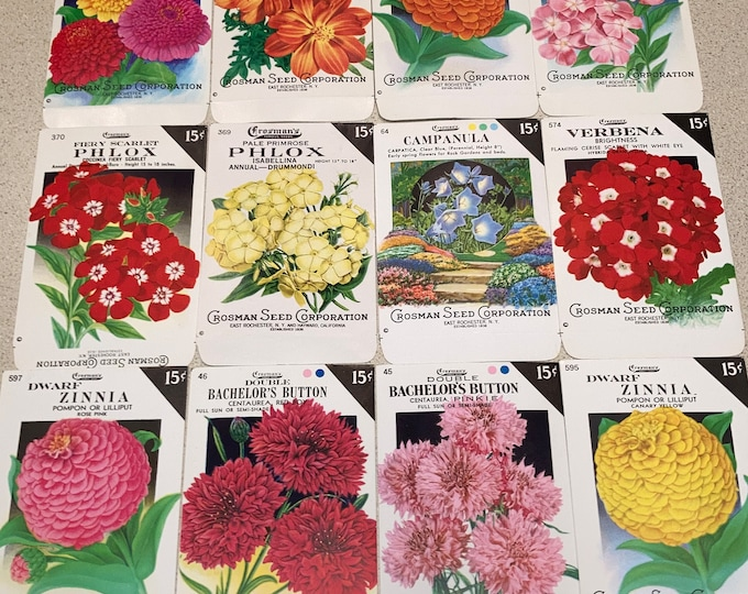 Lot of 12 Vintage Unused Lithographed Flower Seed Packs; Crosman Seed Co., East Rochester, NY Warehouse Find! Old Authentic Packets!