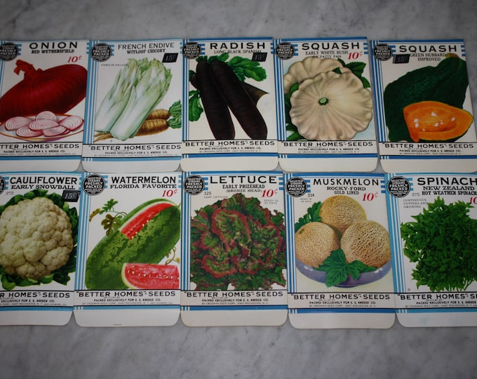 """New Find! Lot of 10 Vintage 1934 """"Better Homes"""" Fruit & Vegetable Seed Packets from Crosman Seed Co., East Rochester, NY! Old Stock, NOS"""