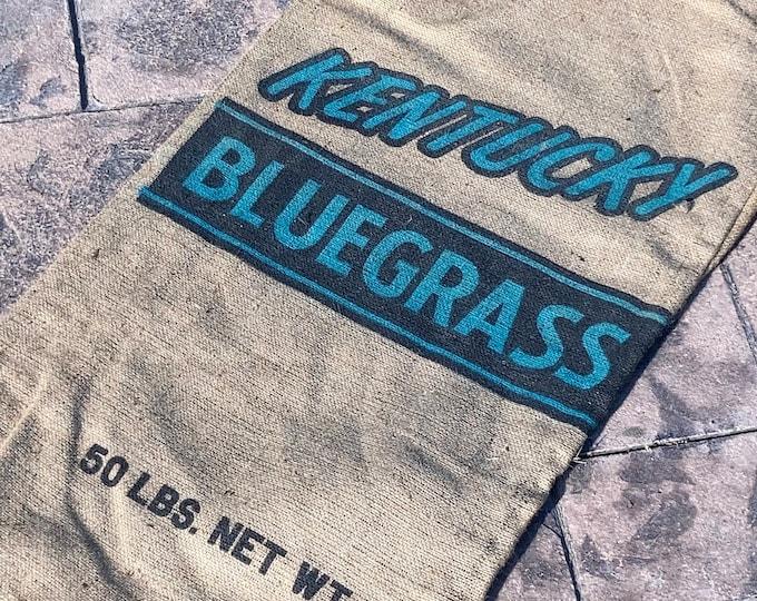 Vintage Burlap Kentucky Blue Grass Seed Sack; Old Farm Primitive 50 Pound Bluegrass Bag