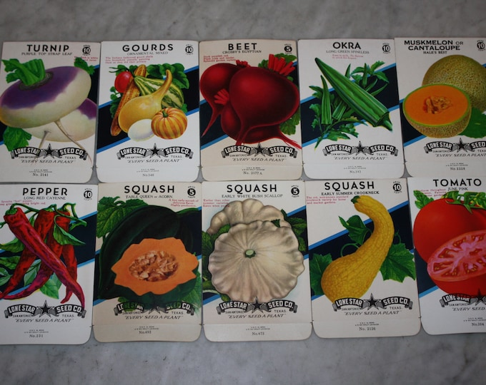 10 Diff. Vintage Unused Old Stock 10 CENT Fruit & Vegetable Seed Packs; Lone Star Seed Co., San Antonio, Texas, Warehouse Find! NOS Packets