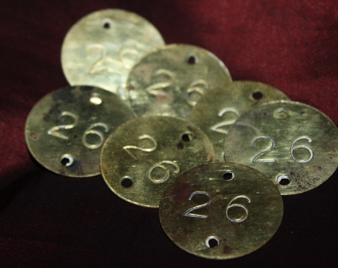 Lot of 7 Round Antique Brass Numbered Tags, stamped #26