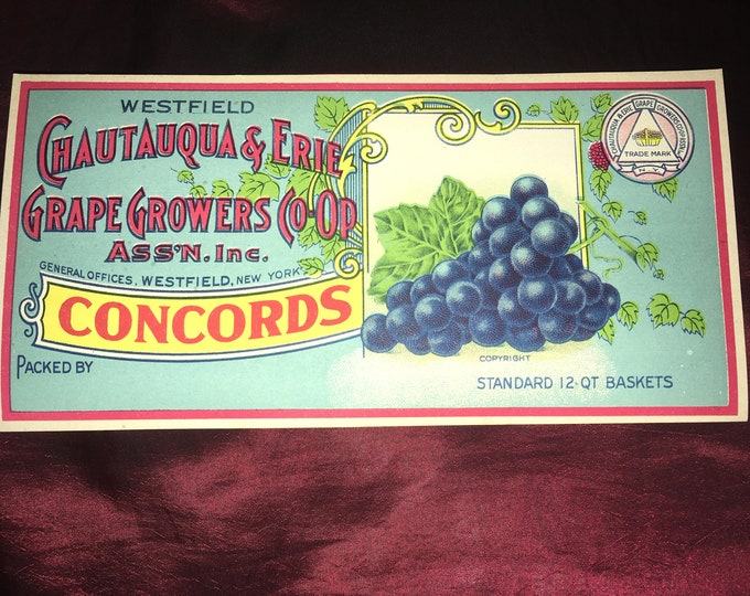Vintage 1920s Chautauqua & Erie Concord Grapes Crate Label; New Old Stock