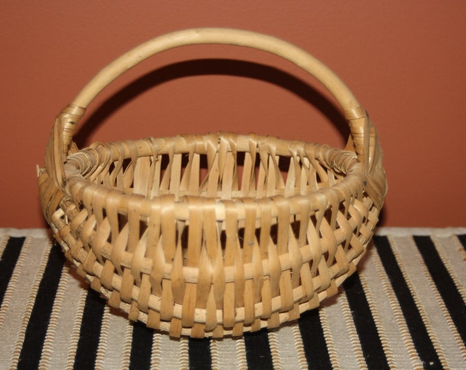 Handmade Wooden Basket with Handle; Splint, Gathering, Market, Ribbed, Buttocks Style, God's Eye Crossing