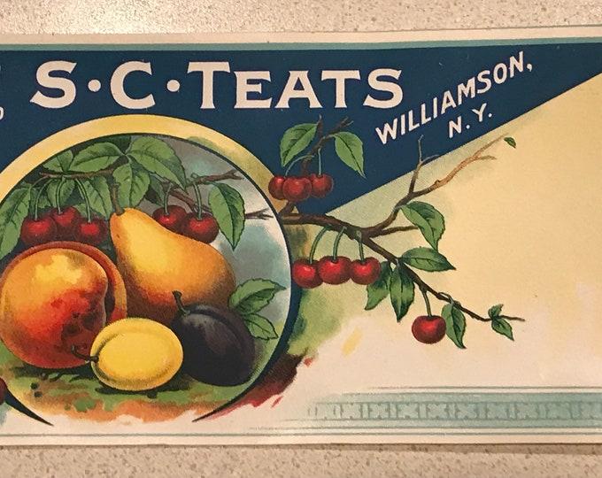 Vintage 1915 Original Fruit Crate Label: S. C. TEATS, Williamson, N.Y. Cherry Peach Pear, Old Stock