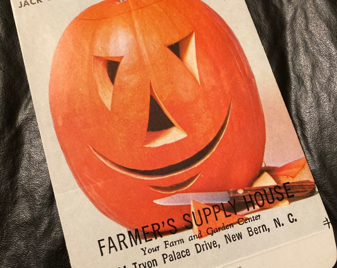 Vintage Halloween Jack O'Lantern  Pumpkin Seed Packet; Old Stock, NOS; Farmer's Supply House, New Bern, NC