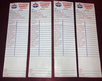 Lot of 4 Vintage 1960s Standard Oil Change Door Jam Stickers; Tune Up; Gas Station Old Stock, Never Used!