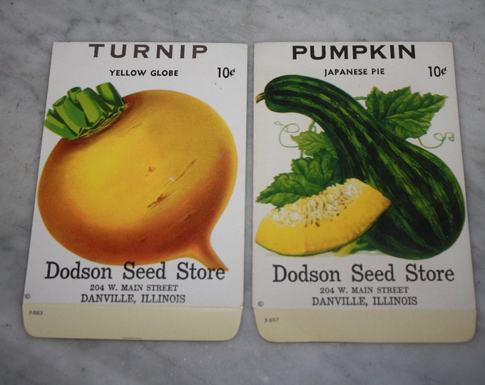 Set of 2 Vintage Lithographed Fruit & Vegetable Seed Packets, Dodson Seed Store, Dansville Ill. Never Used Warehouse Find! NOS 1940s