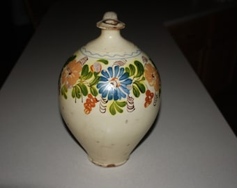 Antique Ovoid Redware Folk Art Decorated Jug; Vintage Country Pottery