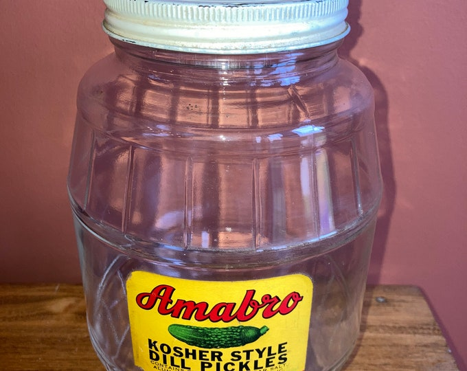 Vintage 1 Quart Glass Pickle Jar with Original Label and Cover: Amabro Kosher Style Dill Pickles, Buffalo, NY