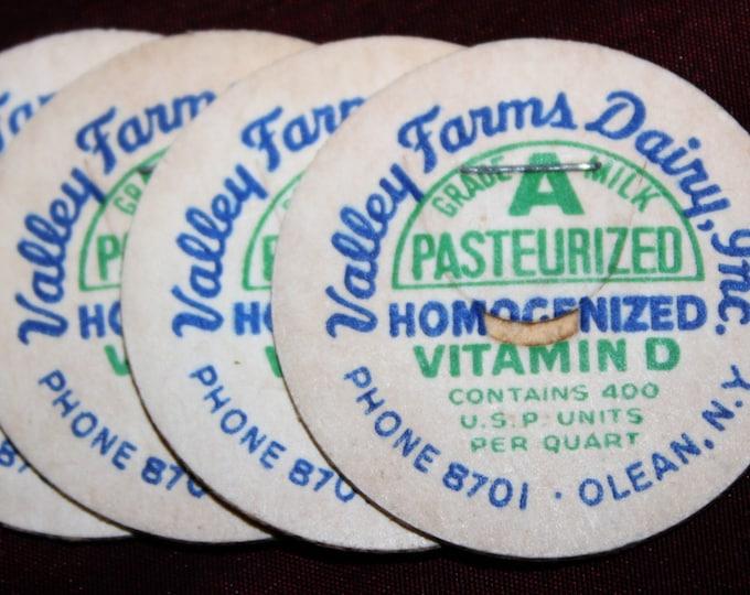 Lot of Unused Vintage 1950s Milk Bottle Caps from Old Olean N.Y. Dairy: Valley Farms Dairy Inc.