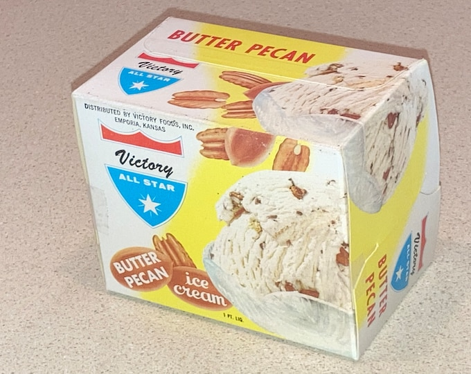 2 Vintage 1957 Victory All Star Ice Cream Cartons: Butter Pecan,  Unused Old Stock NOS Pint Boxes Advertising