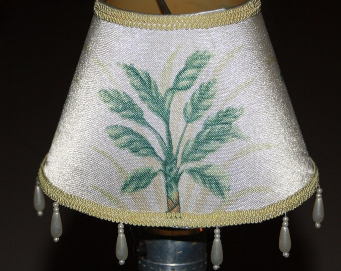 Vintage Mini Hand Painted Silk Lamp Chandelier Sconce Shade; Old Store Stock, Never Used