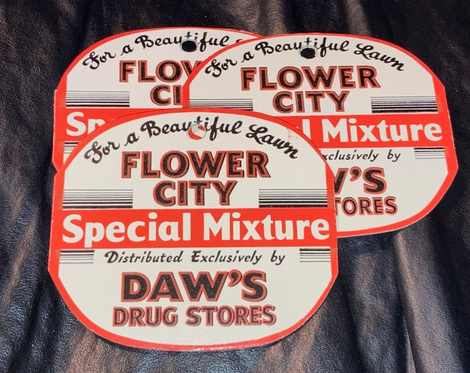1940s Daw's Drug Stores Vintage Grass Seed Advertising Hang Tags; Old Stock, Never Used!