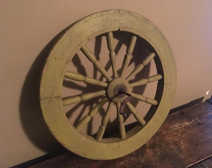 Antique Wooden Spoked Wheel in Old Paint