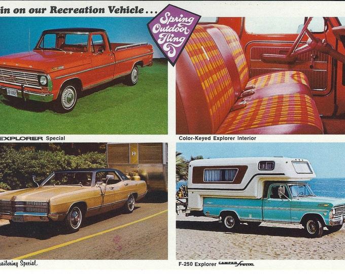 Vintage Unused 1969 Ford Dealer Postcard: F-100 Special, F-250 Camper Special, LTD Trailering Special; Scarce Promotional Sales Literature