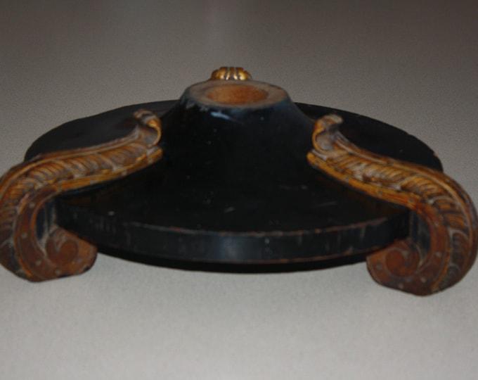 Antique Black & Gilded Wooden Lamp Base