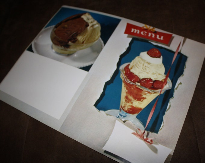Vintage 1950s Ice Cream Menu Cover; Old Stock, Never Used