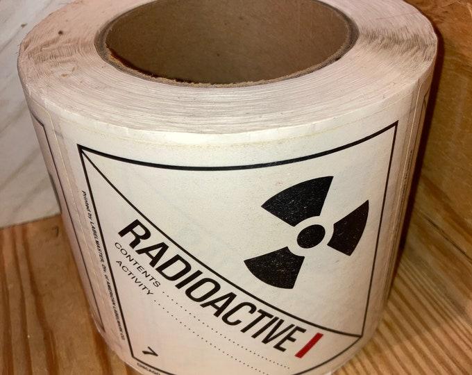 "Roll of 500 Vintage 4"" RADIOACTIVE Decals; DOT Transportation Hazard Stickers; Warning Labels; OSHA Tags"