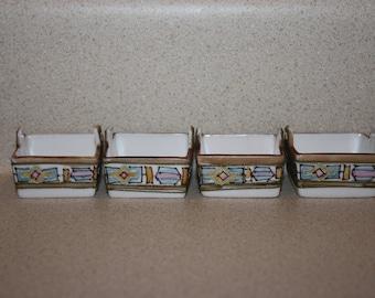 Set of 4 Antique Nippon Salt Dip Dishes; Hand Painted, Rising Sun Mark, Open 2 Handle Tub Style Salt Cellars