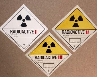 "Vintage 4"" RADIOACTIVE Decals; DOT Transportation Hazard Stickers; Warning Labels; OSHA Tags"