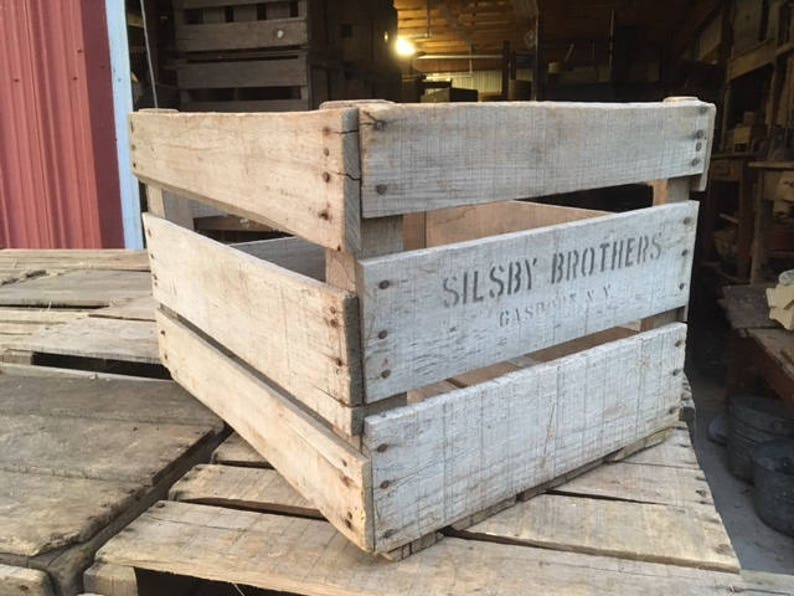 Antique Wooden Apple Orchard Crates Vintage Slatted Wood Farm Boxes Great To Make Organizers Bookcases Tables Country Decor