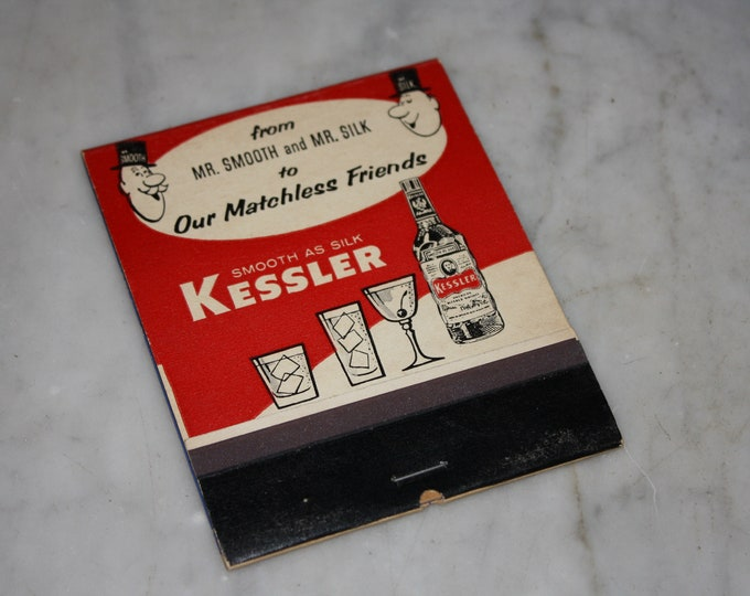 Vintage 1940 Kessler Smooth As Silk Whiskey Matchbook; Large Novelty Advertising with Tom Henderson Comic Art; Unused Old Stock Advertising!