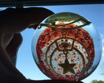 Vintage 1960s Shriners Glass Paperweight