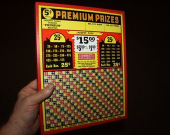 Vintage 1930s PREMIUM PRIZES 5 Cent Punch Board; NOS Warehouse Find; Never Used Old Stock Gambling Punchboard