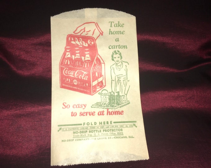 Vintage Coca Cola Dry Server Bottle Drip Protector Sleeve featuring Large Red 6-Pack