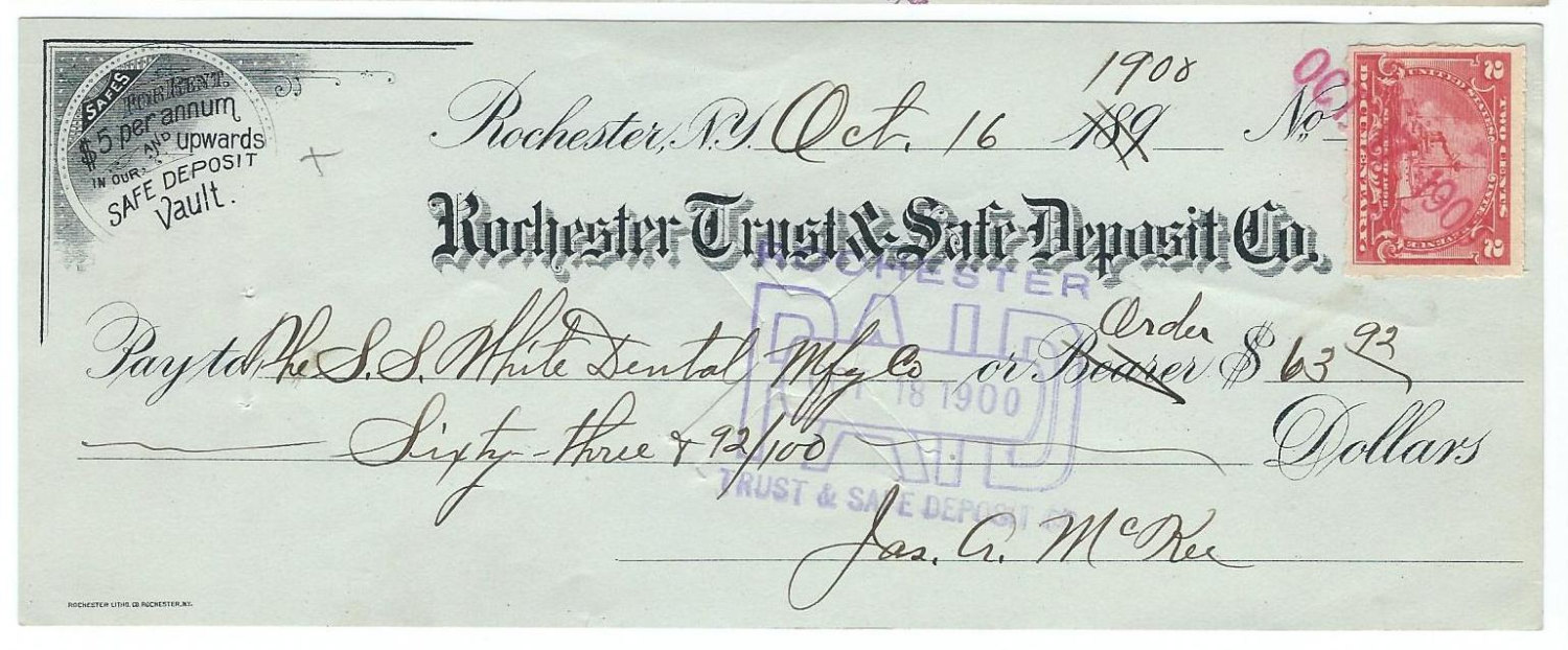 3 Antique Canceled Bank Checks from Rochester Trust & Safe Deposit