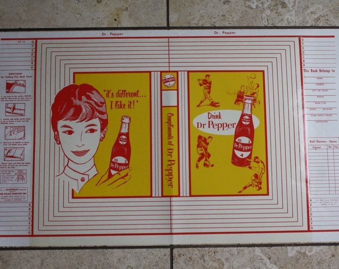 VIntage 1950s Dr. Pepper Bookcover; Never Used, Warehouse Find; Soda Advertising