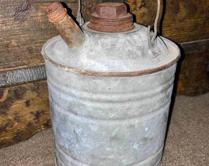 Small Antique Galvanized Steel Kerosene Can with Bale Handle