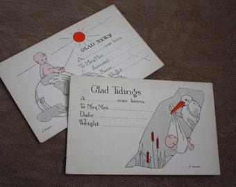 Vintage 1920s Birth Announcement Postcards! Digital Download